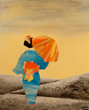 "Kimono <br> mixed media on canvas <br> 16""w x 20""h"