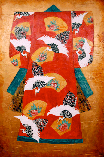 "My Kimono <br> mixed media on canvas <br> 40""w x 60""h"