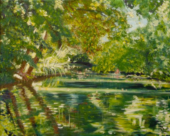 """The River Marne <br> mixed media on canvas <br> 20""""w x 16""""h"""