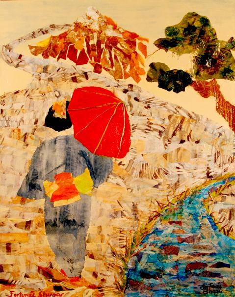 "Kimono Mosaic<br>mixed media on canvas<br>16""w x 20""h"