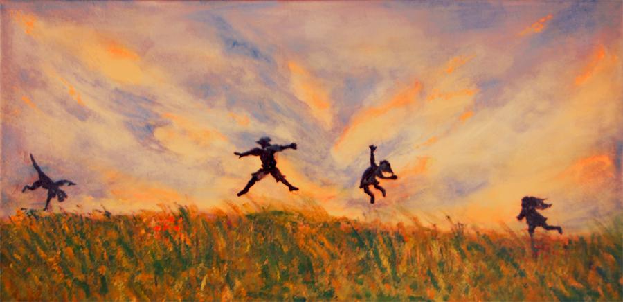 "Wheeee !!</br>acrylic on canvas</br>24""w x 12""h"