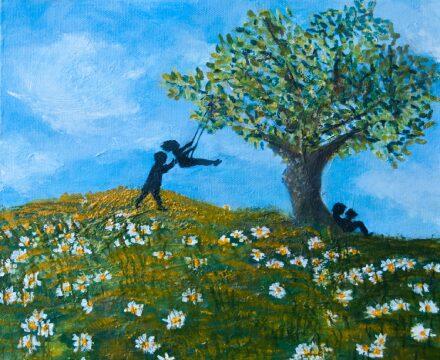 "Daisy Dreams</br>acrylic on canvas</br>12""w x 12""h"