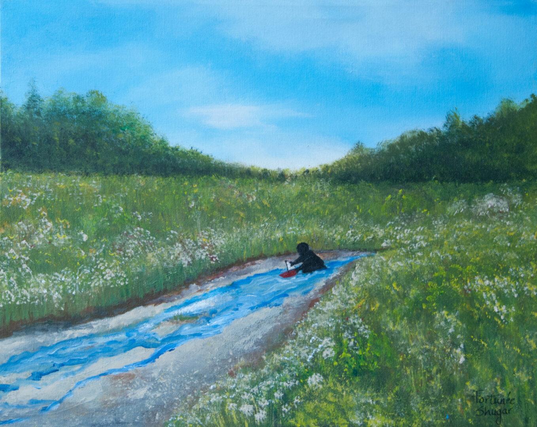 "Sail Away</br>acrylic on canvas</br>20""w x 16""h"