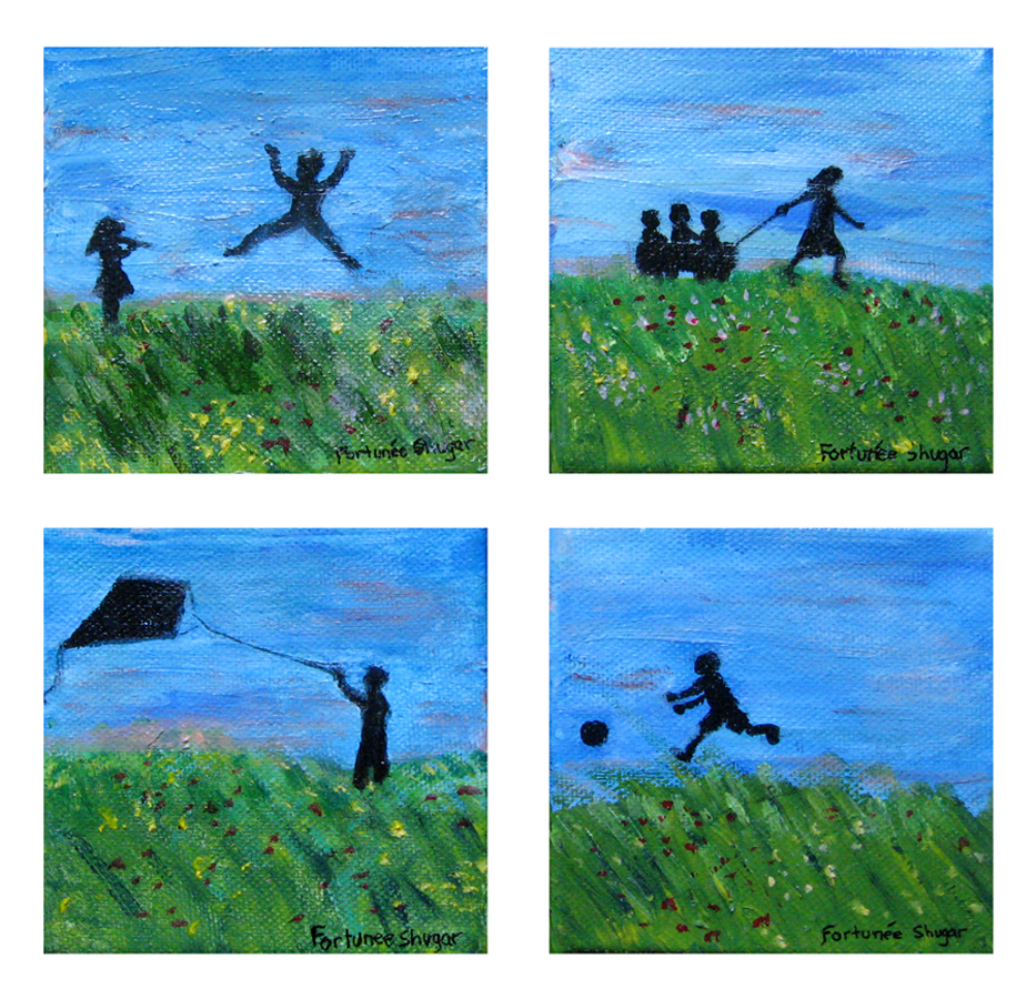"Small Wishes</br>acrylic on canvas</br>4""w x 4""h (each)"