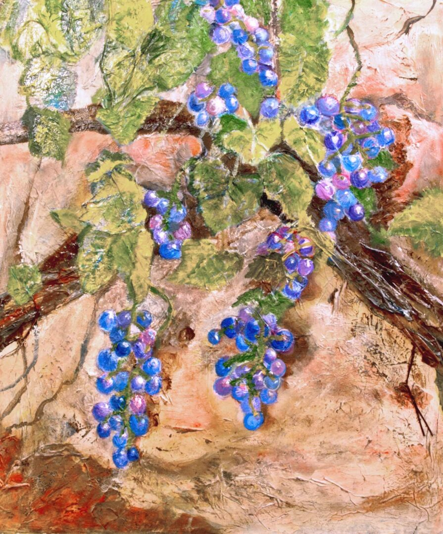 """Grapes of Giverny <br>mixed media on canvas  <br> 20""""w x 24""""h"""