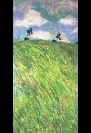 "Leapfrog</br>acrylic on canvas</br>12""w x 24""h"