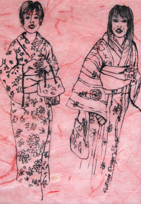 """A Day Out 2<br>ink on rice paper<br>5""""w x 7""""h"""