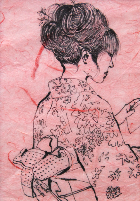 """A Day Out 3<br>ink on rice paper<br>5""""w x 7""""h"""
