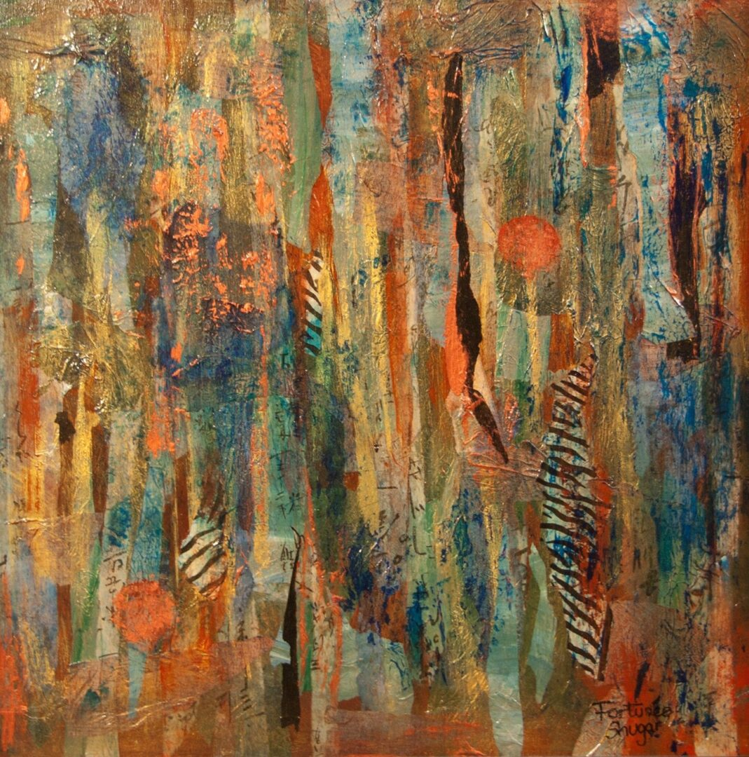 """Copper Moon<br> mixed media on board<br>24""""w x 24""""h"""