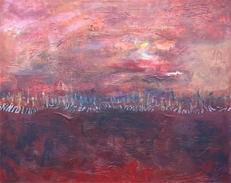 "Off in the Distance<br> mixed media on board<br> 30""w x 24""h"