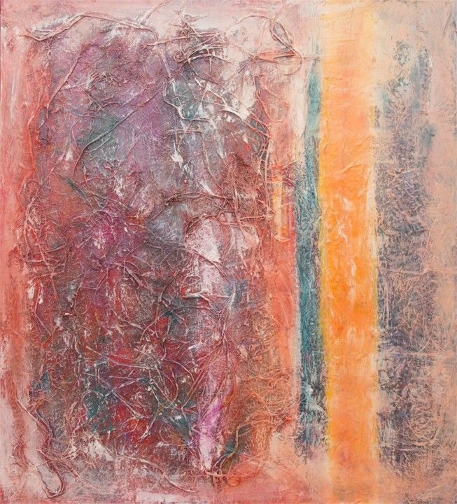 """There is Light<br> mixed media on board<br>25""""w x 28""""h"""