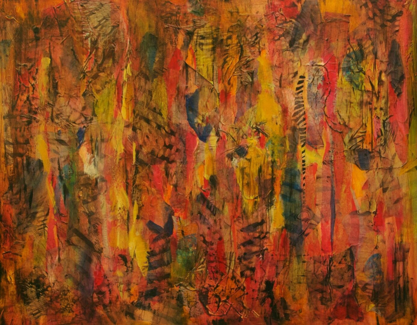 """Way Out<br>mixed media on board<br>30""""w x 24""""h"""