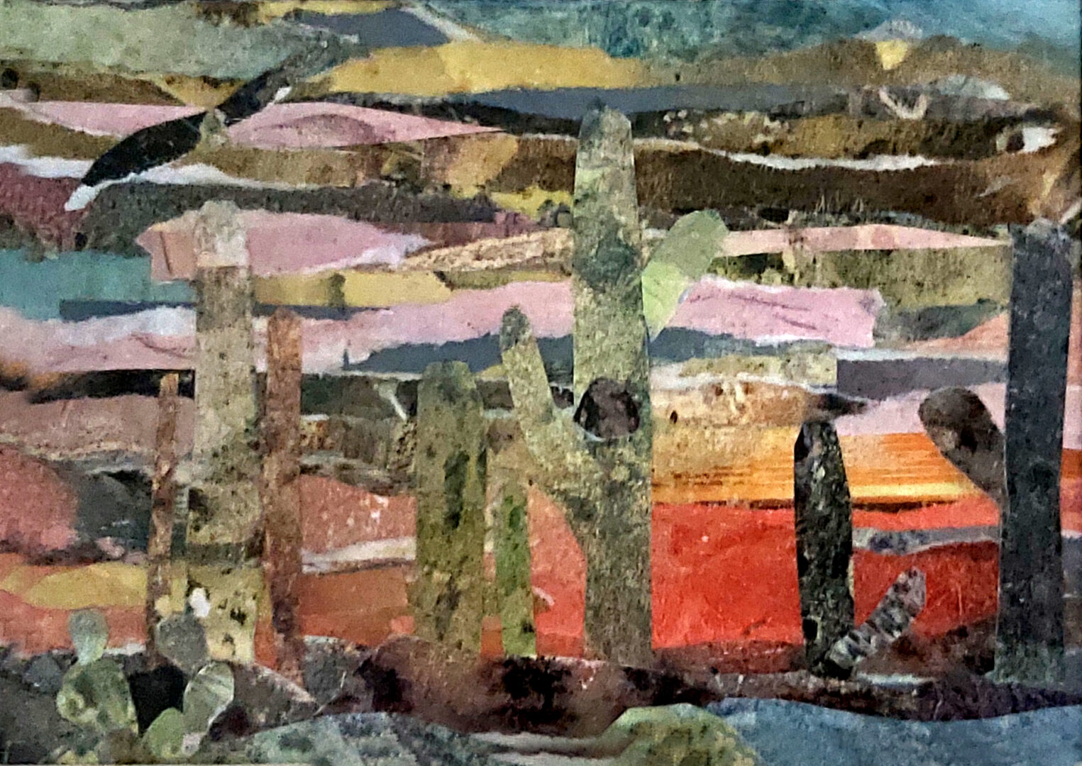 """Eagle in the Spring <br> mixed media on paper <br> 7""""w x 5""""h"""
