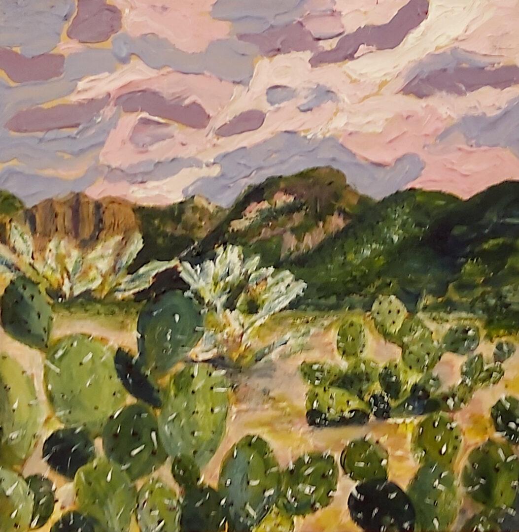 "Lavender Skies <br> acrylic on canvas <br> 12""w x 12""h"