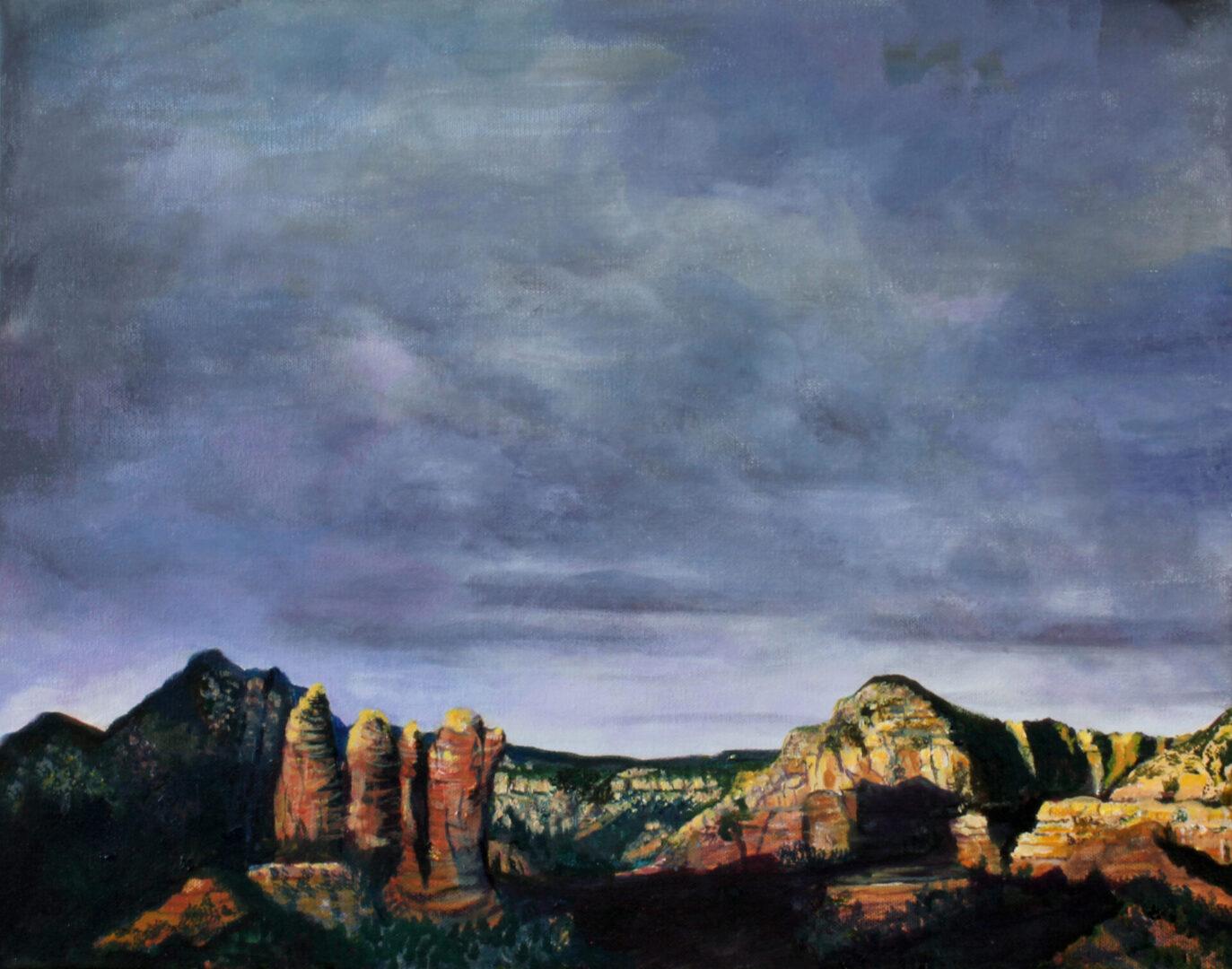 """Ominous Sky <br> acrylic on canvas <br>  20""""w x 16""""h"""