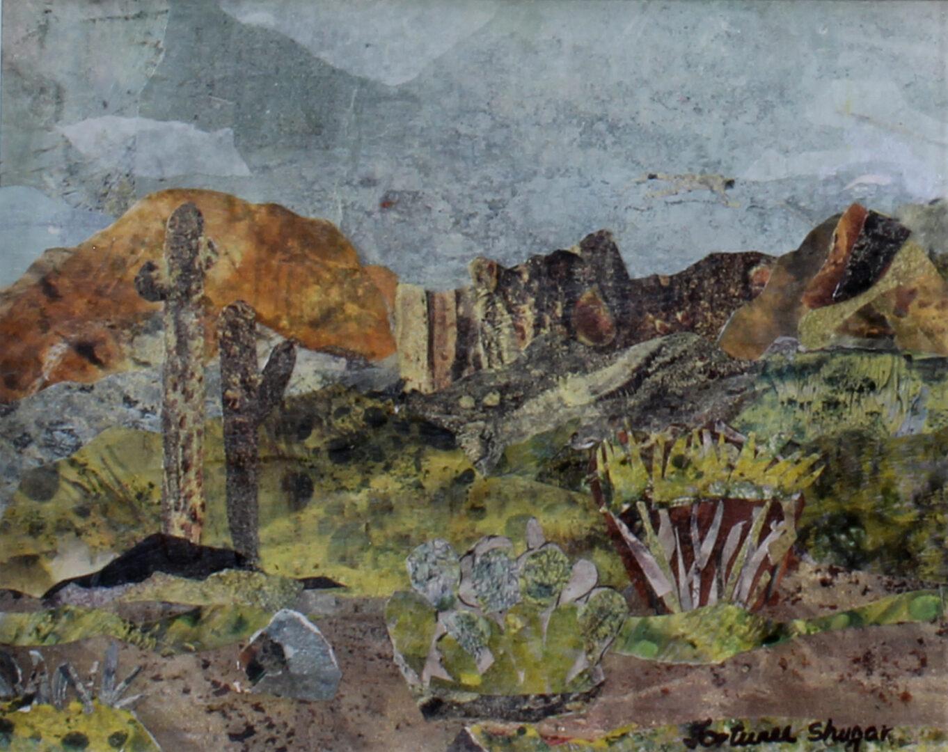 "Overcast Spring Desert <br> mixed media on paper <br>  10""w x 8""h"