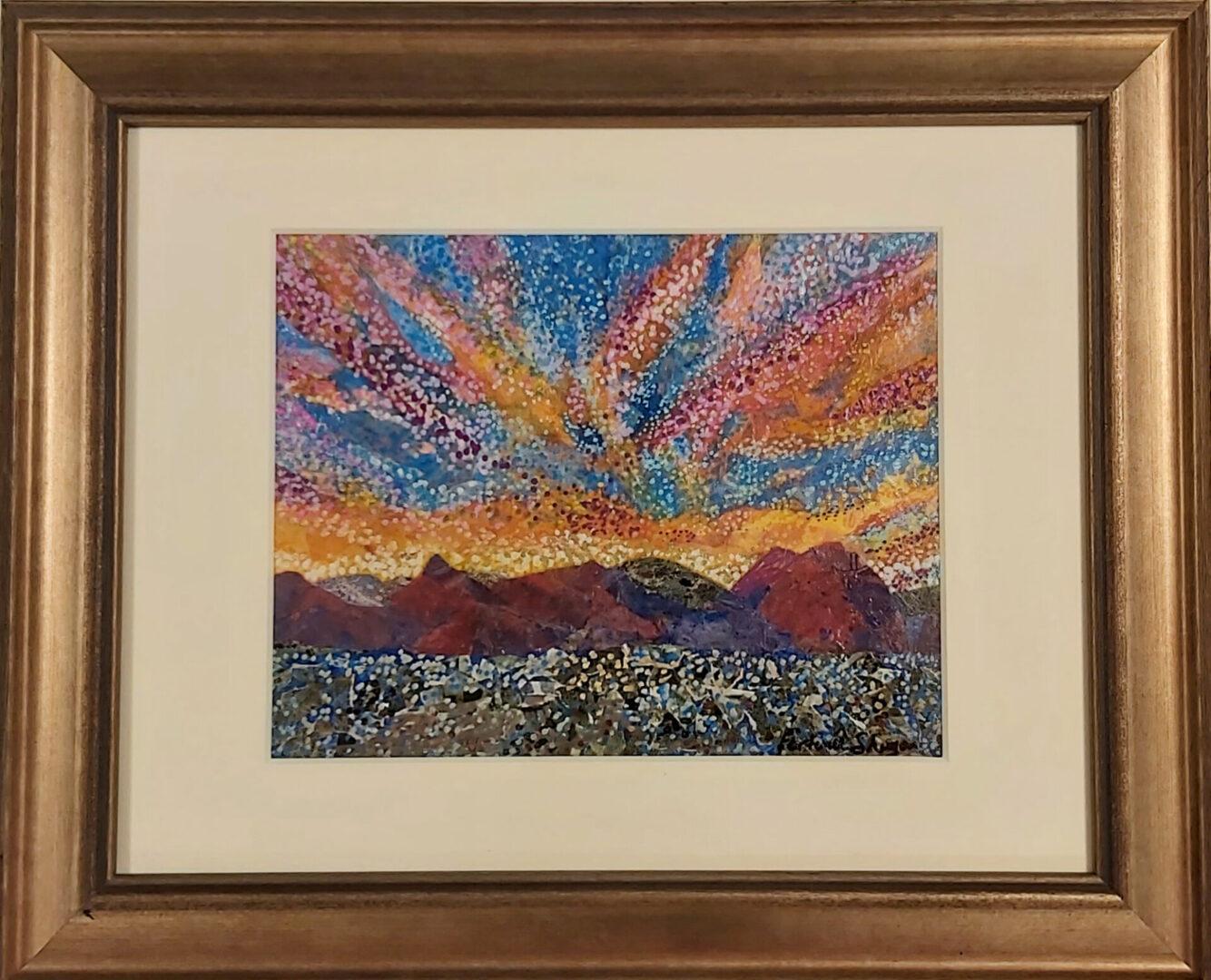 "Pointillist Sky <br> acrylic on paper <br>  10""w x 8""h"