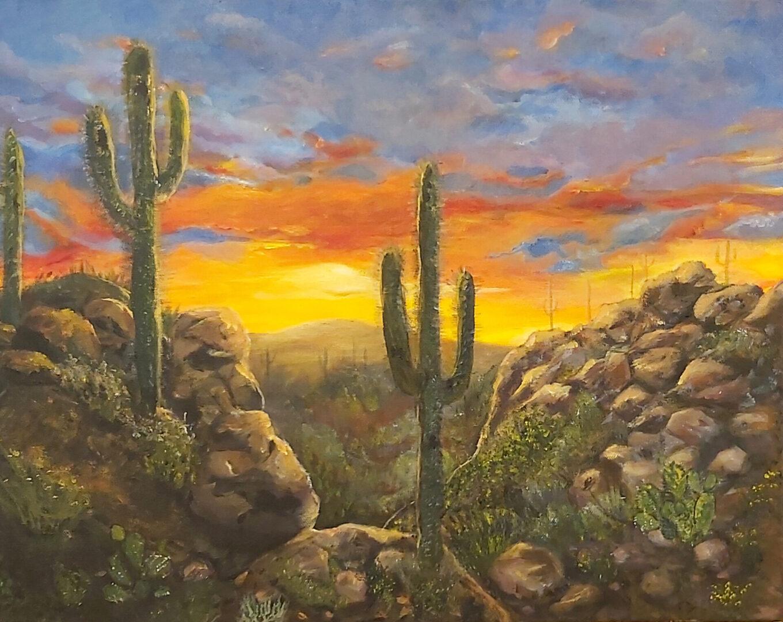 "Sonoran Desert <br> acrylic on canvas <br>  20""w x 16""h"
