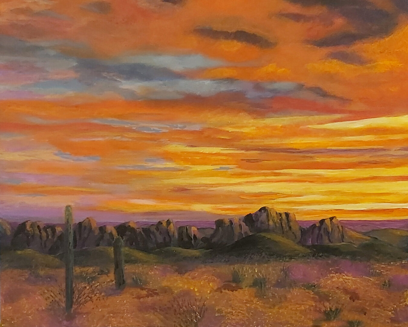 "Sunset Glory <br> acrylic on canvas <br>  20""w x 16""h"
